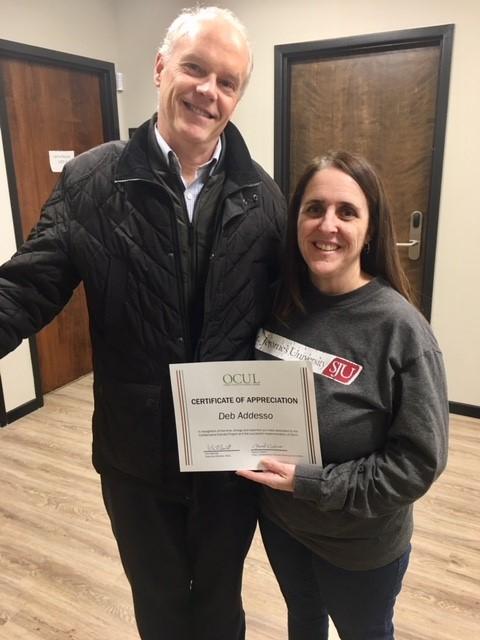 Deb Addesso Receives OCUL Certificate of Appreciation