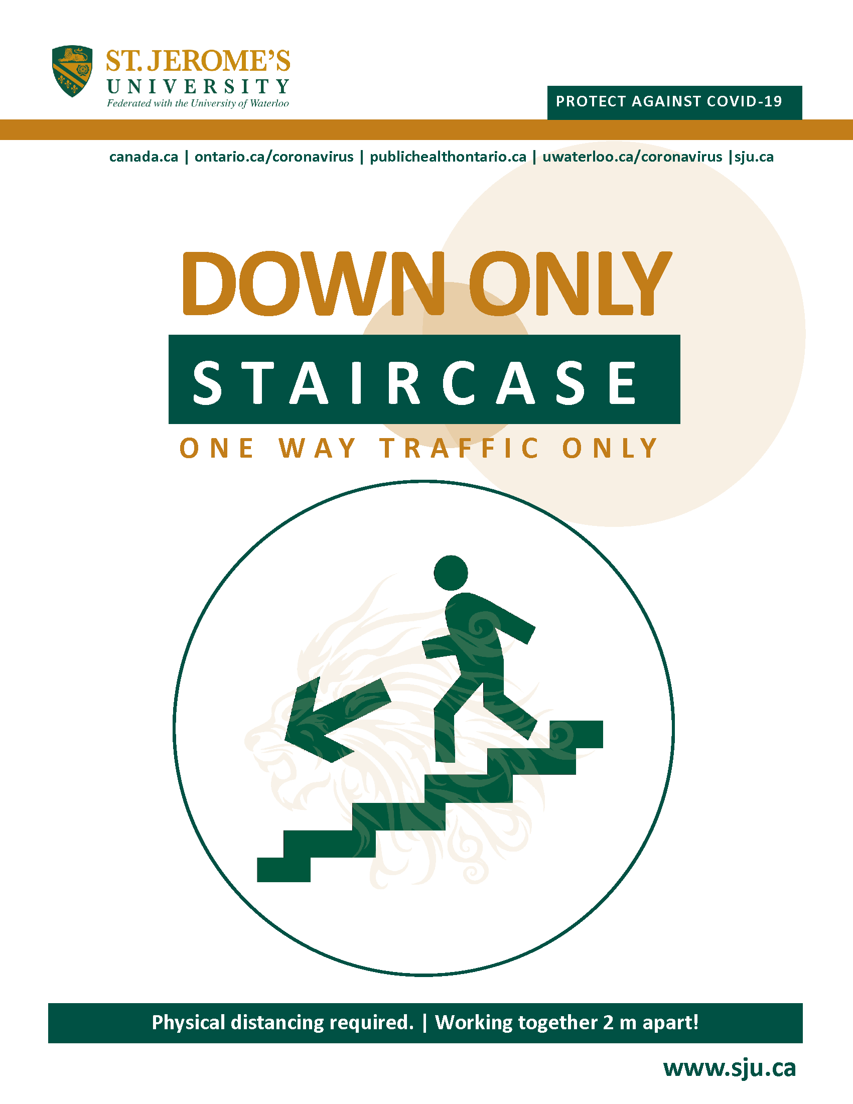 A stylized image of a person walking down a flight of stairs with the words Down Only Staircase - One Way Traffic Only above it