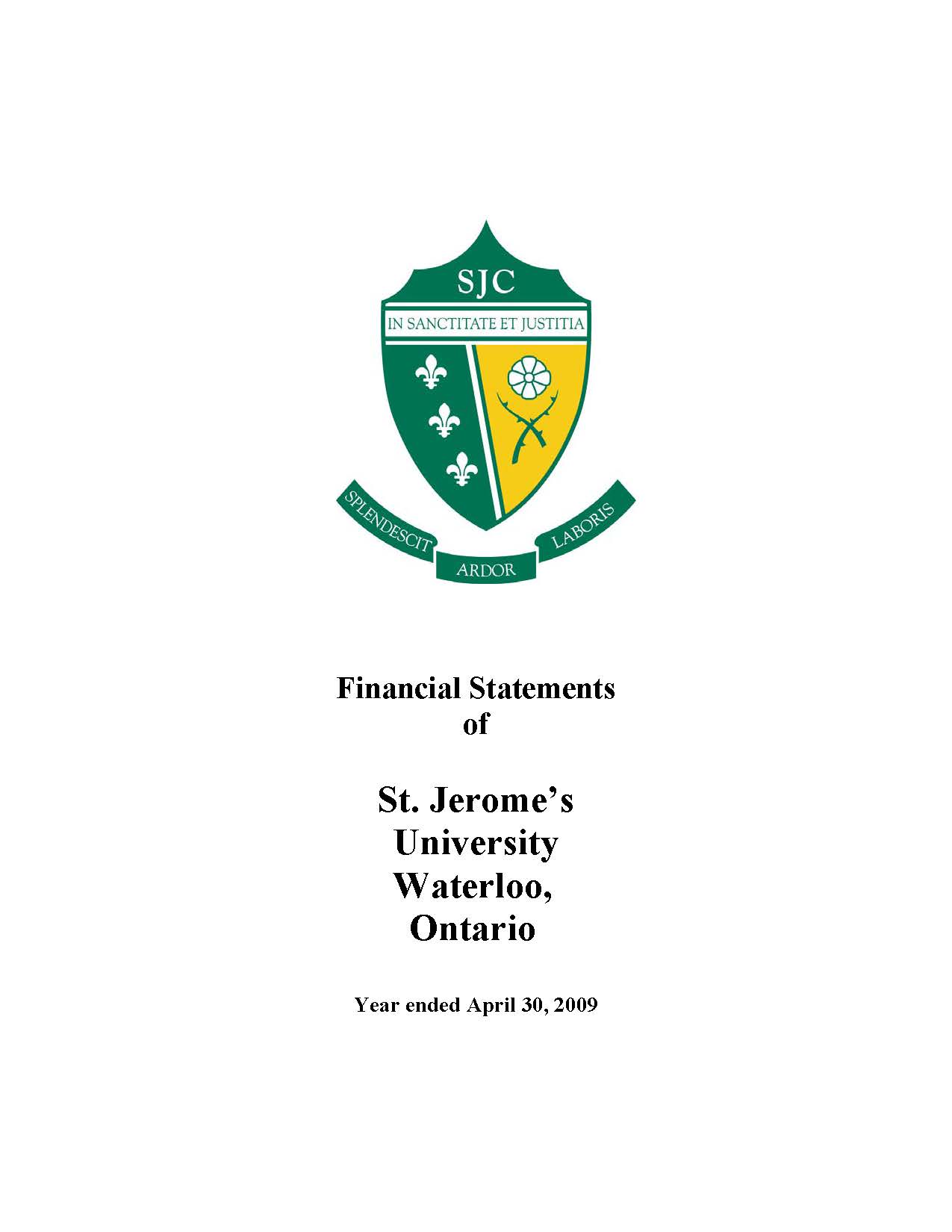 SJU Financial Statements Ending 2009