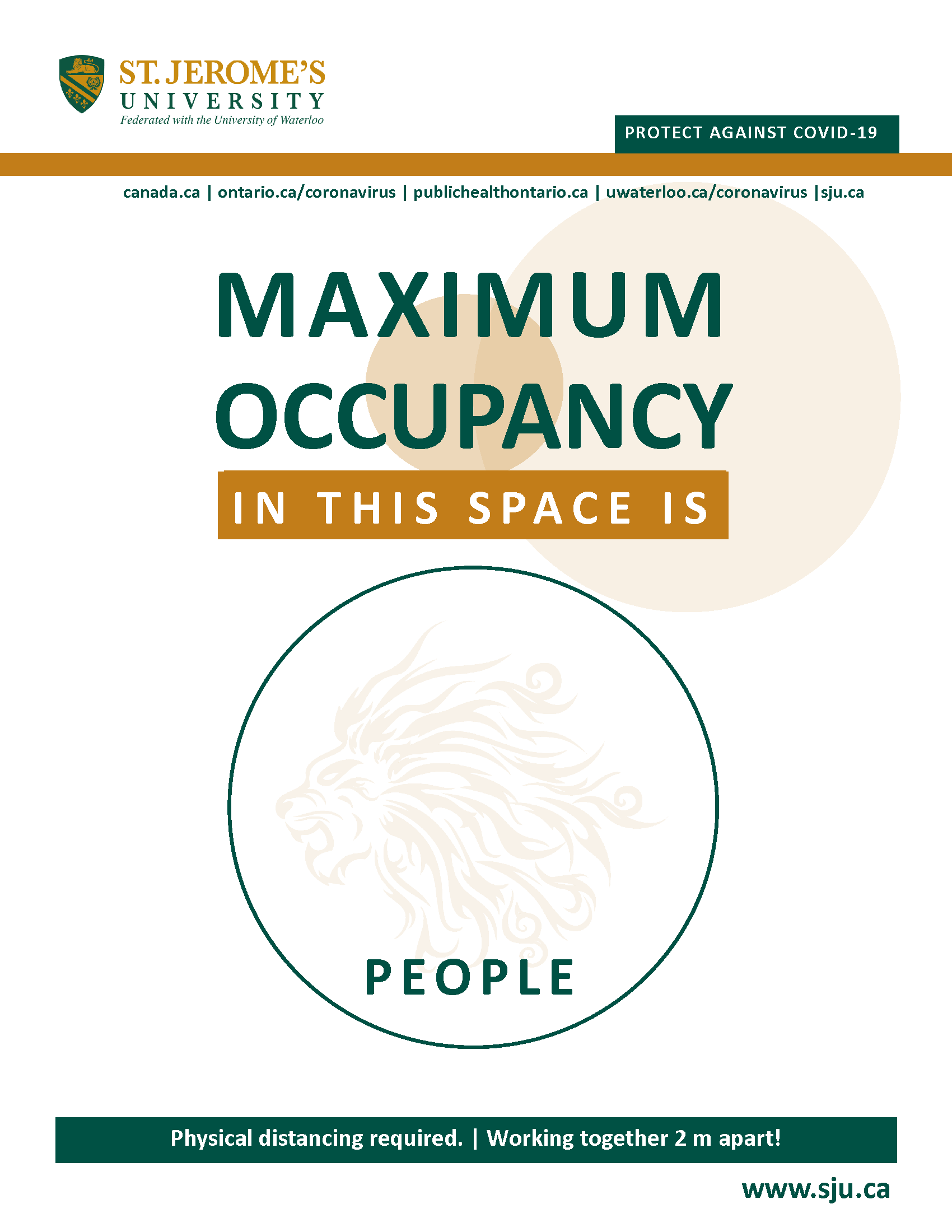 An blank circle and above it reads Maximum Occupancy in This Space Is