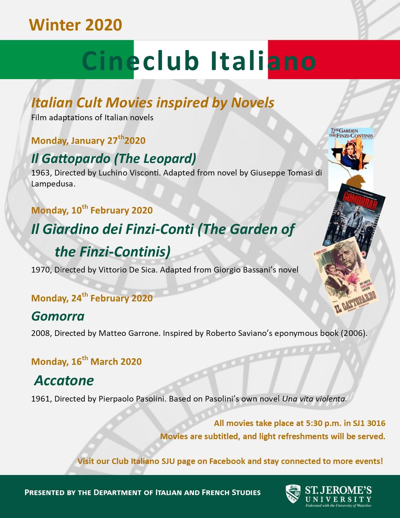 Poster - Cineclub Italiano Winter 2020