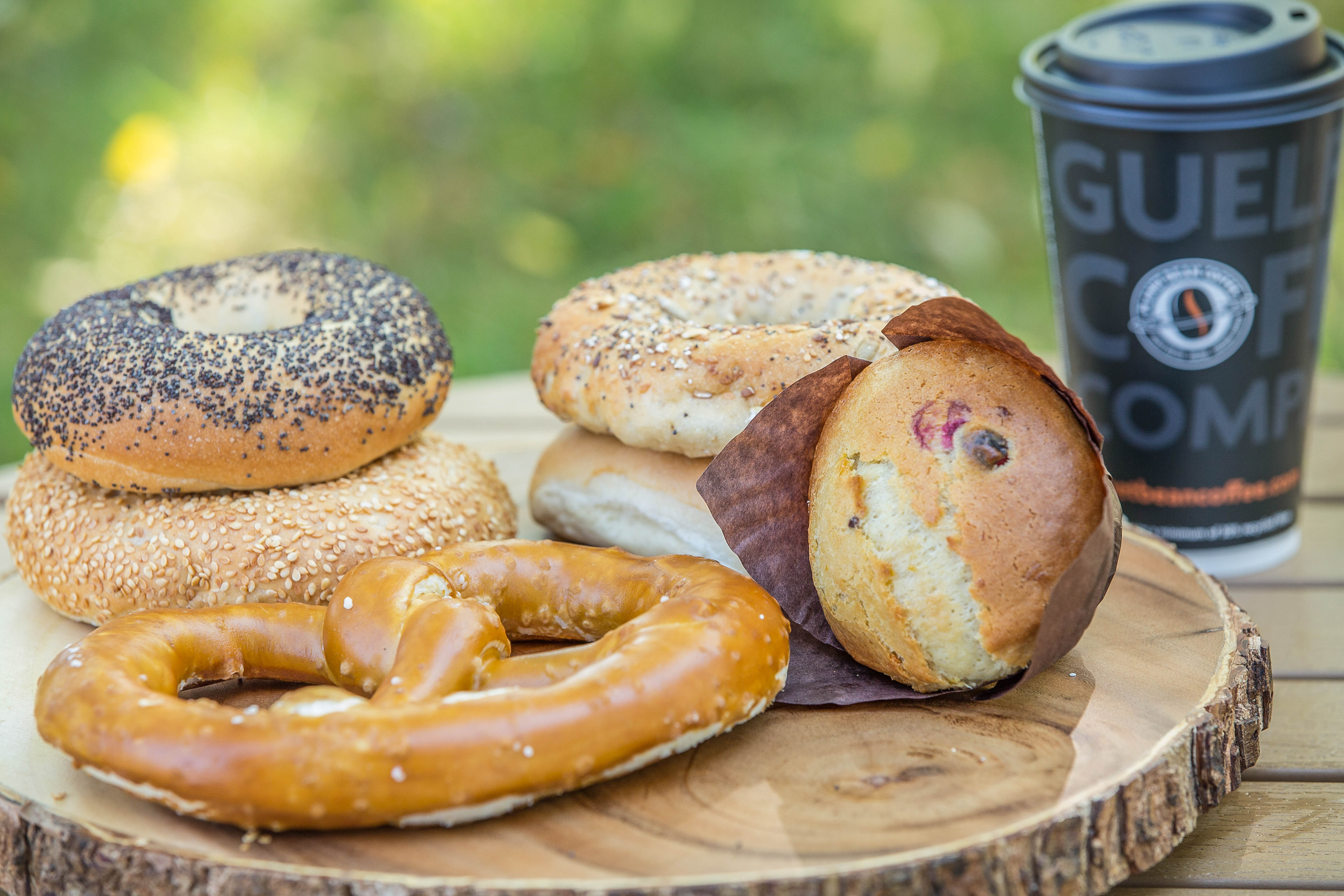 Image of various Bagels and Doughnuts