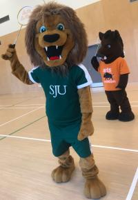 St. Jerome's mascot Jerome and UW arts mascot Porcellino