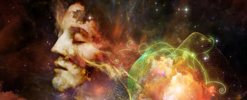 Image of an illustration of human face in universe