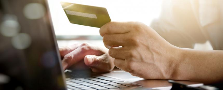 Image of a person doing an Online transaction