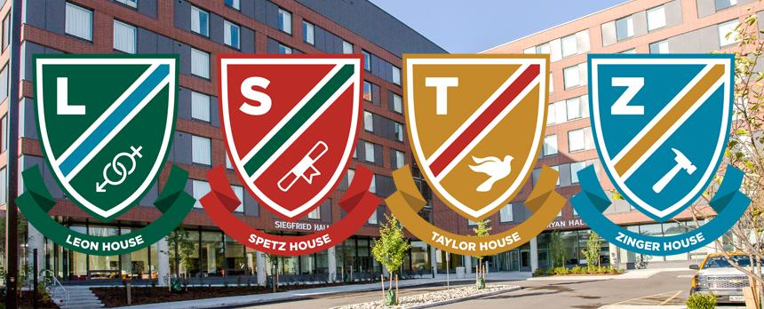 Image of Emblems of four houses with SJU campus in background