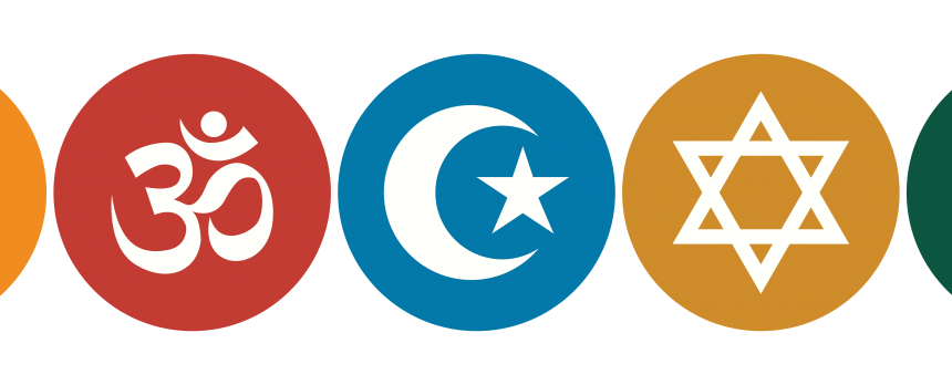 Five circles with symbols inside: a cross, the om symbol, the Islam star and crescent symbol, the star of David, and Buddhism's dharma wheel.