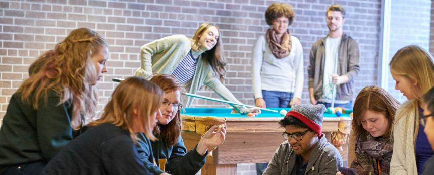 Image of students playing indoor games in Play house