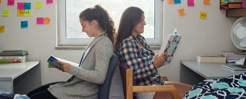 Image of two students studying in their room