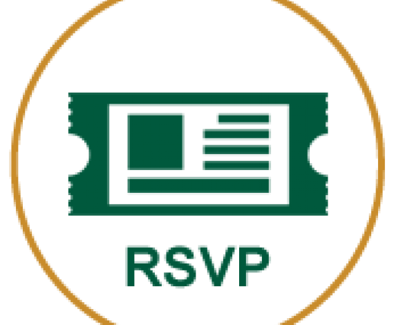 Icon of a ticket with RSVP written on it