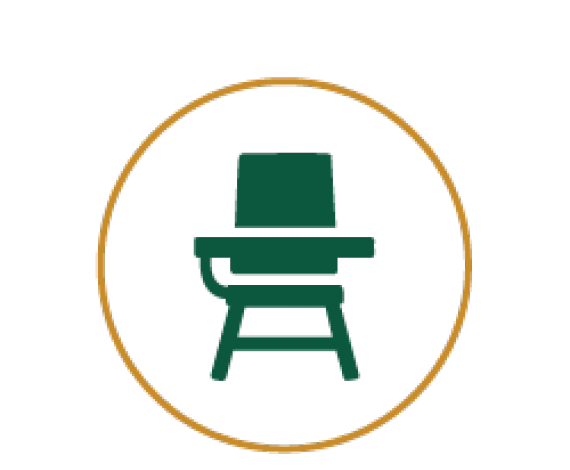 Icon for a classroom bench and desk