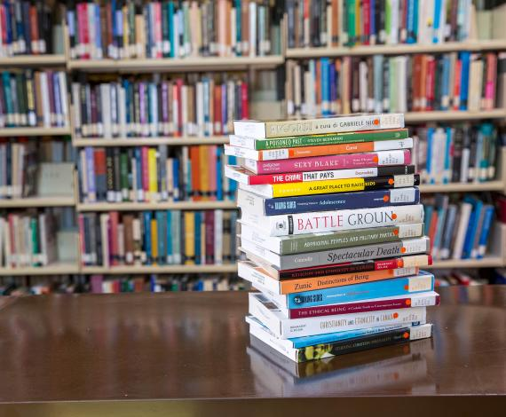 Image of a stack of books in library