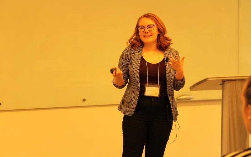 Eva Clark-Lepard addressing guest