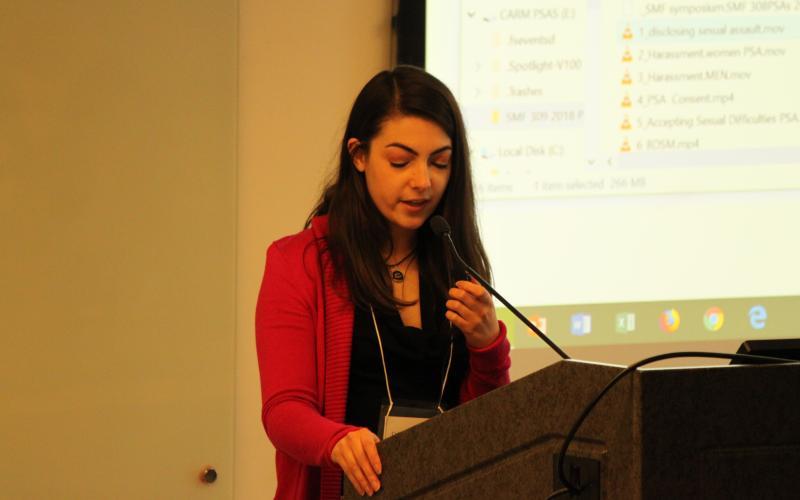 Speaker addressing guest at SMF 2018