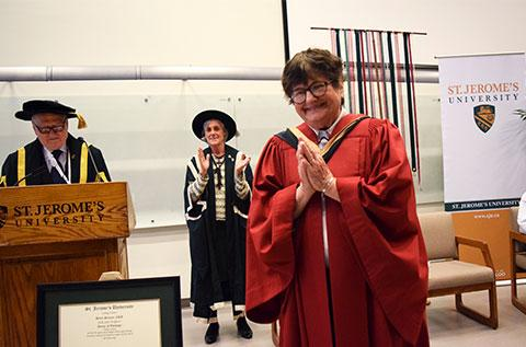 Sr Helen Prejean accepting her honourary doctorate from St. Jerome's University